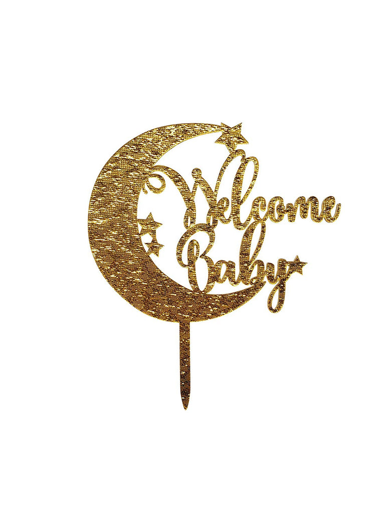 Gold Welcome Baby Cake Topper