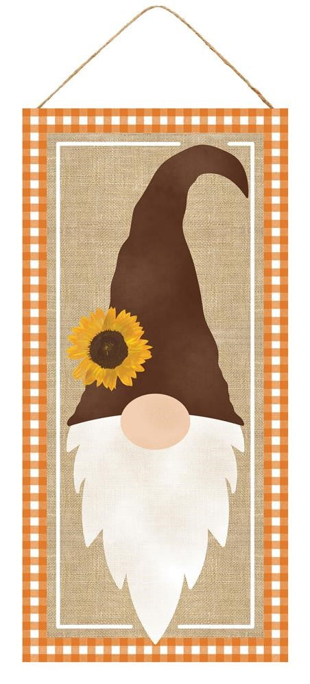 "Fall Sunflower Hat Gnome Sign - Brown/Beige/Orange/White - 12.5""H X 6""L-Mels Crafty Mojo LLC"
