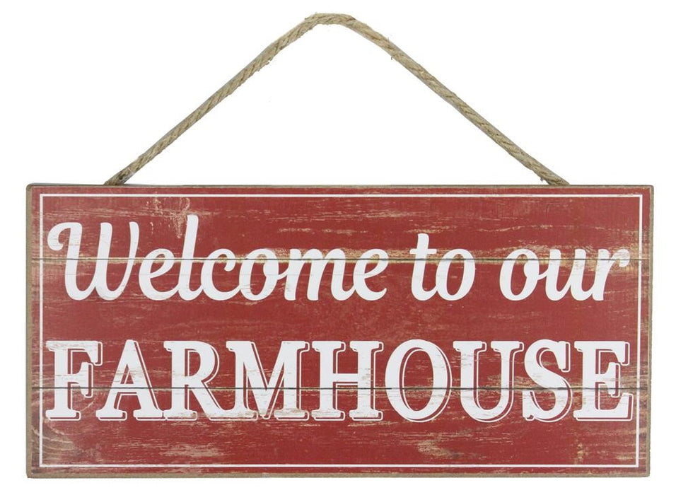 "Welcome to Our Farmhouse Sign - Rustic Red/White - 12.5""L X 6""H-Mels Crafty Mojo LLC"