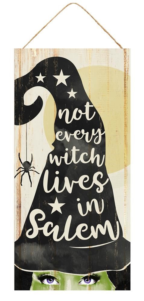 "Not Every Witch Lives in Salem Halloween Sign - Cream/Black/Green - 12.5""H X 6""L-Mels Crafty Mojo LLC"