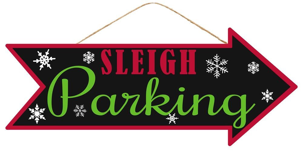 "Sleigh Parking Arrow Christmas Sign - Black/Red/Lime/White - 16""L X 6.5""H-Mels Crafty Mojo LLC"