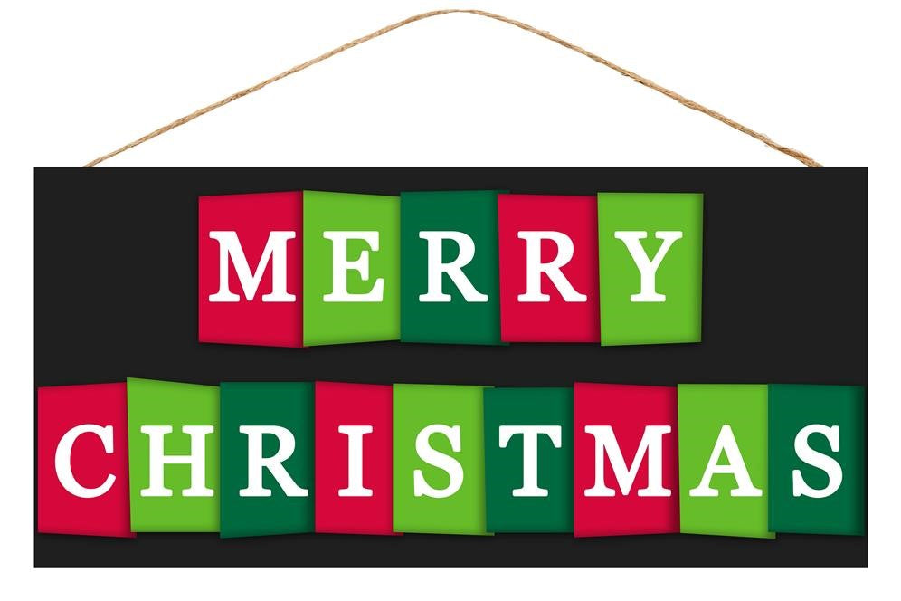 "Merry Christmas Letter Cards Sign - Black/White/Red/Green - 12.5""L X 6""H-Mels Crafty Mojo LLC"