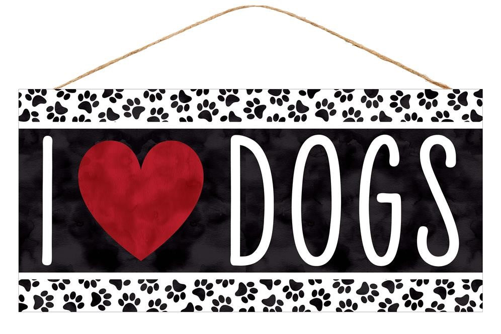 "I Heart Dogs Sign - Black/White/Red - 12.5""L X 6""H-Mels Crafty Mojo LLC"