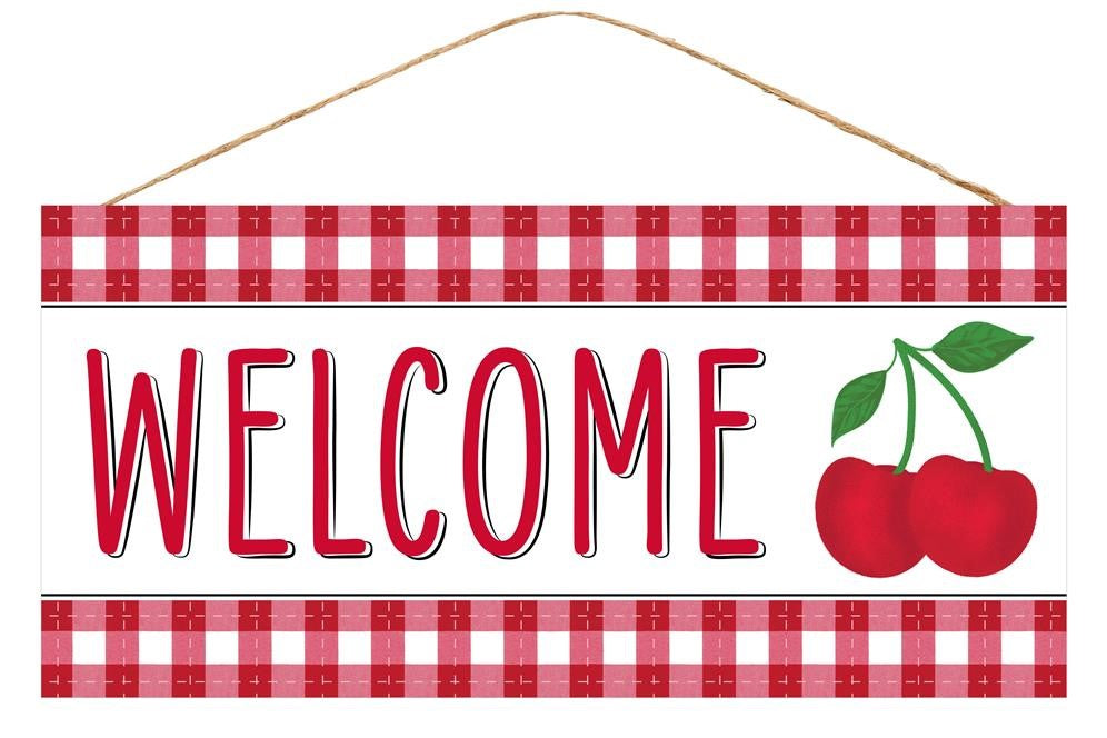 "Cherry Welcome Sign - Red/White/Green/Black - 12.5""L X 6""H"