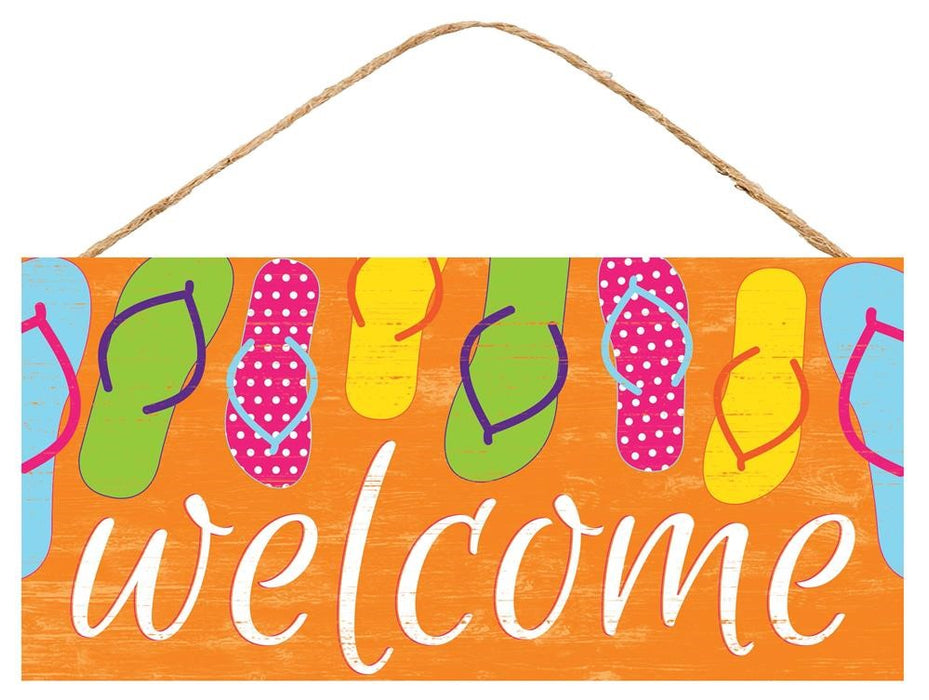 "Flip Flops Welcome Sign - Orange/White/Green/Pink/Yellow - 12.5""L X 6""H"