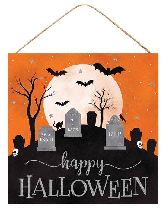 "Happy Halloween Graveyard Sign - Orange/Black/White/Grey - 10""L X 10""H"
