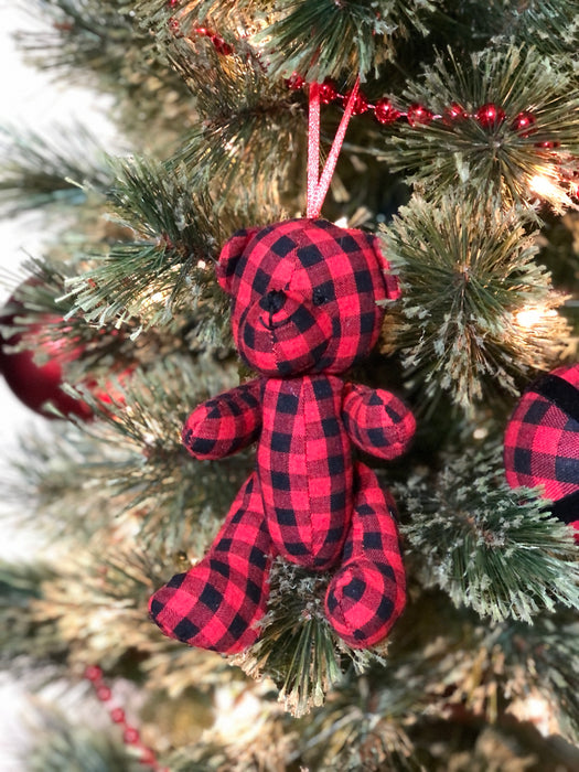"Buffalo Plaid Fabric Animal Ornaments - Red/Black - 5"" (Pack of 10 Assorted)"