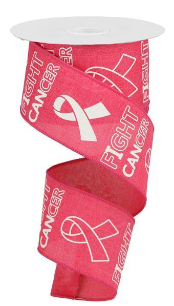 "Fight Cancer Ribbon - Hot Pink/White - 2.5"" X 10YD - Mels Crafty Mojo LLC"