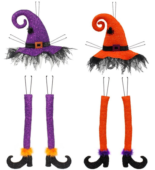 "Witch Hat & Legs Wreath Decor Kit - 3 PC, 32""H (2 Color Choices)-Mels Crafty Mojo LLC"