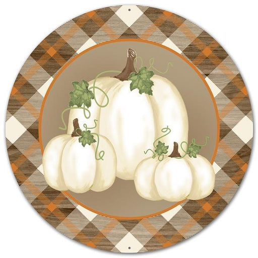 "Fall Pumpkins & Plaid 12"" Round Metal Sign - Cream/Brown/Orange/Green - Mels Crafty Mojo LLC"