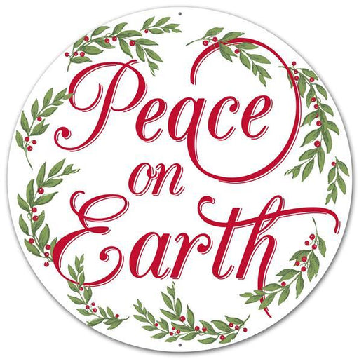 "Peace on Earth 12"" Round Metal Sign - White/Red/Green - Mels Crafty Mojo LLC"