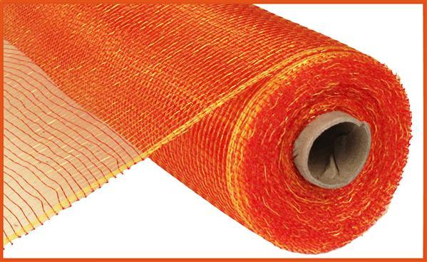 "Poly Deco Mesh  - Two Tone - Red/Gold - 10"" X 10 YD - Mels Crafty Mojo LLC"