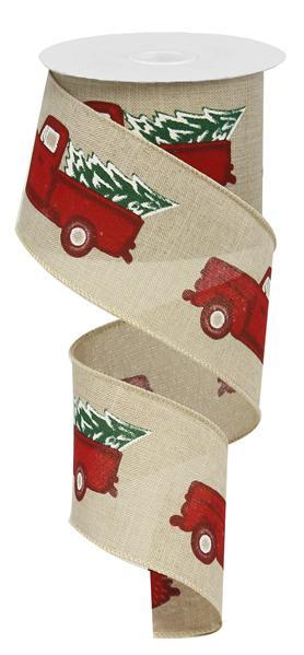 "Vintage Truck & Christmas Tree Royal Ribbon - Natural/Red/Green - 2.5"" X 10YD - Mels Crafty Mojo LLC"