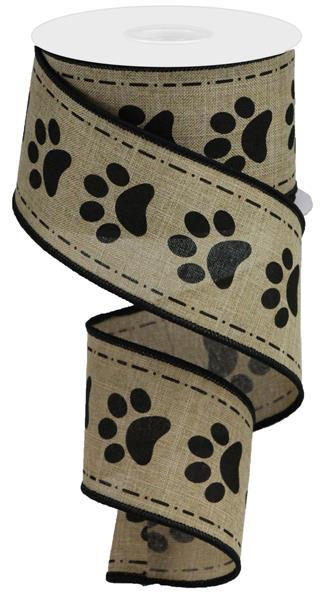 "Large Paw Prints on Royal Ribbon - Beige/Black - 2.5"" X 10YD - Mels Crafty Mojo LLC"