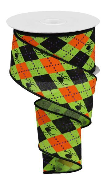 "Argyle Spiders on Royal Ribbon - Lime/Orange/Black/Purple - 2.5"" X 10YD - Mels Crafty Mojo LLC"