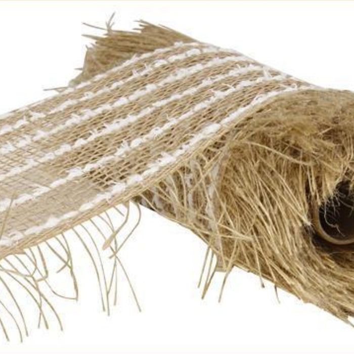 "Burlap/Jute/Snowdrift Mesh - Frayed - Natural with White Snowdrift - 10"" X 10YD - Mels Crafty Mojo LLC"
