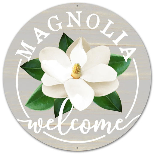 "Magnolia Welcome 12"" Round Metal Sign - Grey/White/Green-Mels Crafty Mojo LLC"