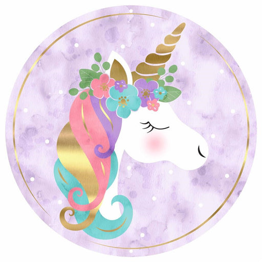 "Unicorn 12"" Round Tin Sign - White/Purple/Pink/Blue/Gold-Mels Crafty Mojo LLC"