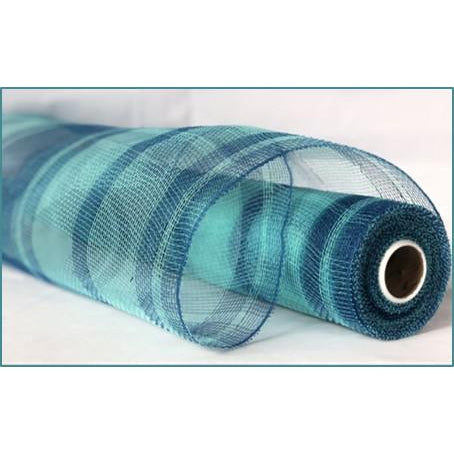 "Two Tone Plaid Metallic Poly Deco Mesh - Aqua/Turquoise - 21"" X 10 YD - Mels Crafty Mojo LLC"