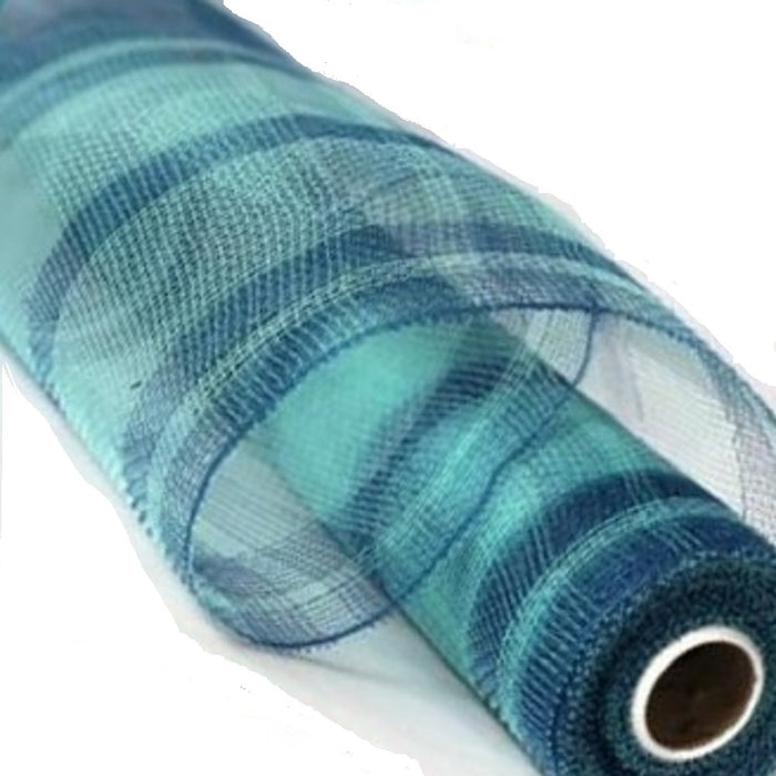 "Poly Deco Mesh - Two Tone Plaid Metallic - Aqua/Turquoise - 21"" X 10 YD"