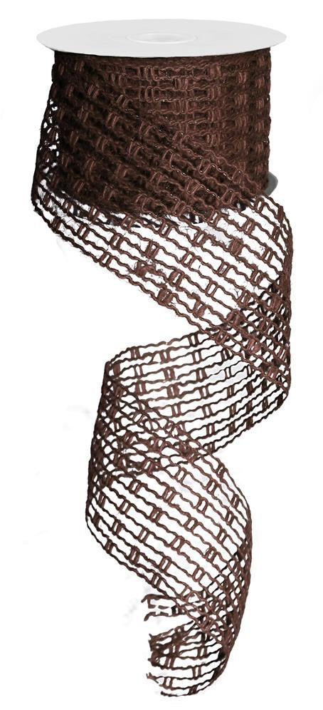 "Jute Mesh Stretchable Ribbon - Brown - 2.5"" X 10YD-Mels Crafty Mojo LLC"