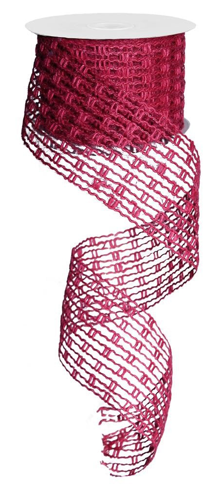 "Jute Mesh Stretchable Ribbon - Fuchsia - 2.5"" X 10YD-Mels Crafty Mojo LLC"