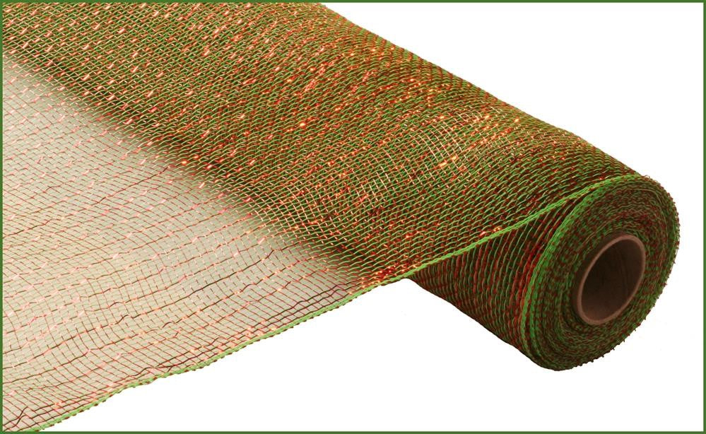 "Poly Deco Mesh - Metallic - Lime/Red with Red Foil - 21"" X 10 YD-Mels Crafty Mojo LLC"