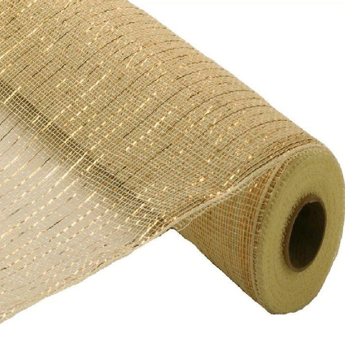 "Poly Deco Mesh - Metallic - Cream with Gold Foil - 21"" X 10 YD"