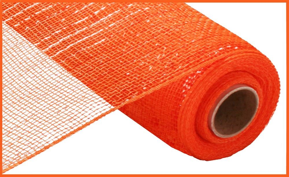 "Poly Deco Mesh - Metallic - Orange with Orange Foil - 10"" X 10 YD"