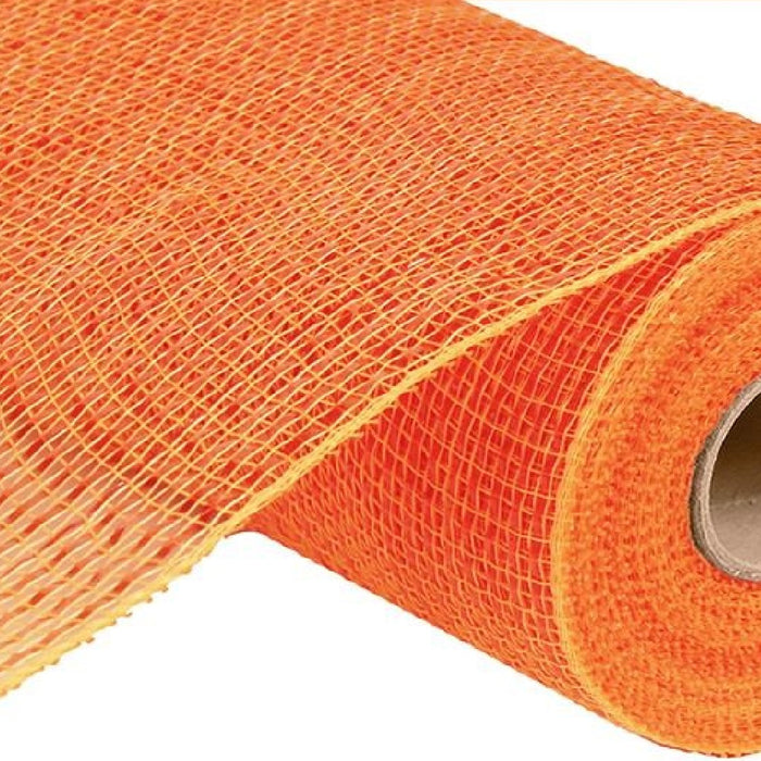 "Deluxe Wide Foil Poly Deco Mesh - Orange with Orange Foil - 10"" X 10 YD"