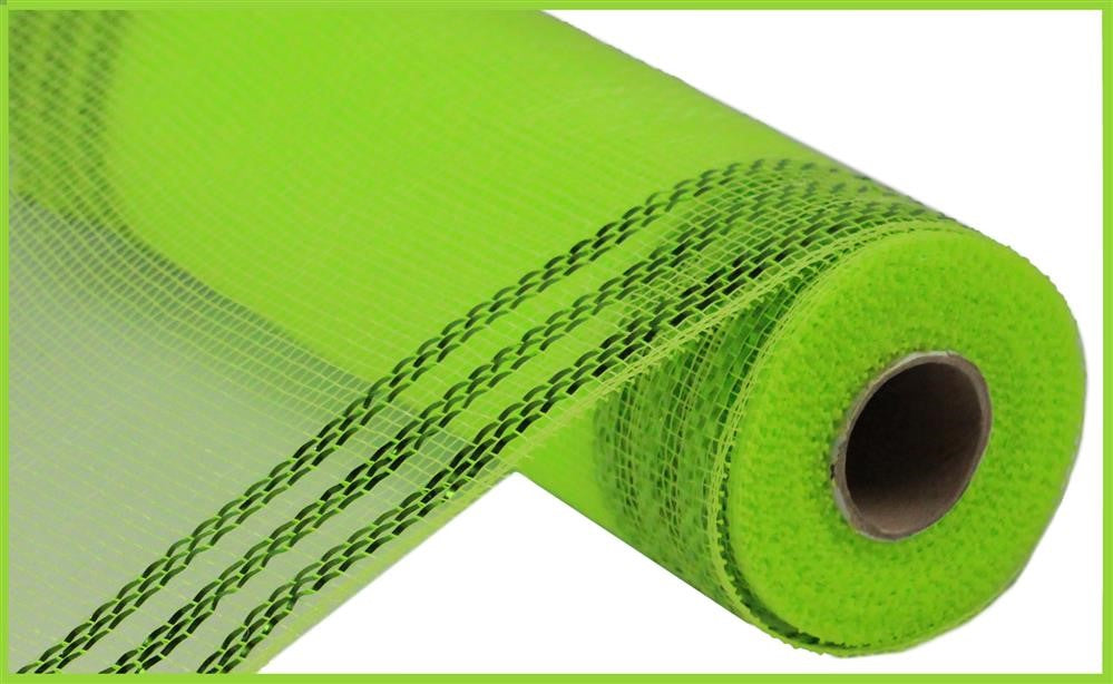 "METALLIC BORDER STRIPE DECO MESH - Apple and Lime Green - 10"" X 10 YD-Mels Crafty Mojo LLC"