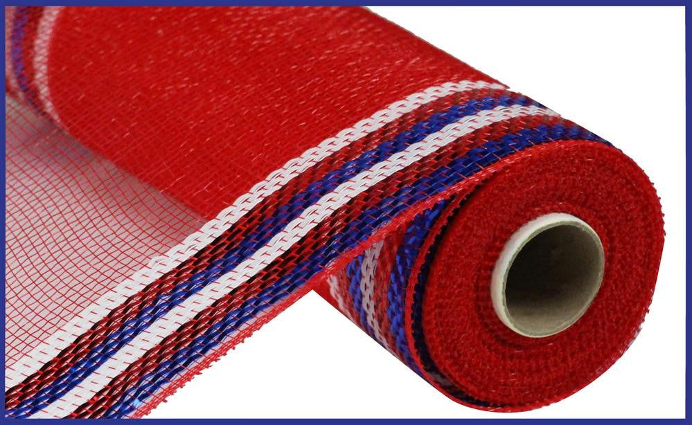 "METALLIC BORDER STRIPE DECO MESH - Red/White/Blue - 10"" X 10 YD-Mels Crafty Mojo LLC"