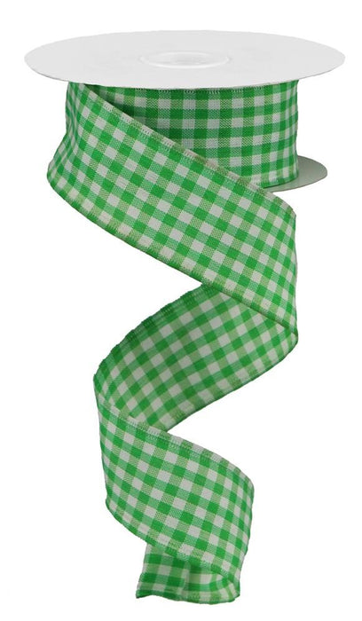 "Gingham Check Ribbon - Emerald Green/White - 1.5"" X 10YD"
