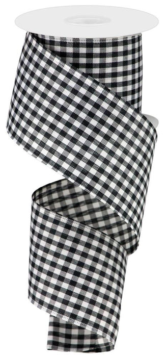 "Gingham Check Ribbon - Black/White - 2.5"" X 10YD-Mels Crafty Mojo LLC"