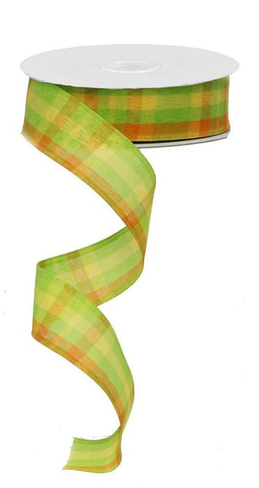 "Plaid Ribbon - Lime/Orange/Yellow - 1.5"" X 10YD"
