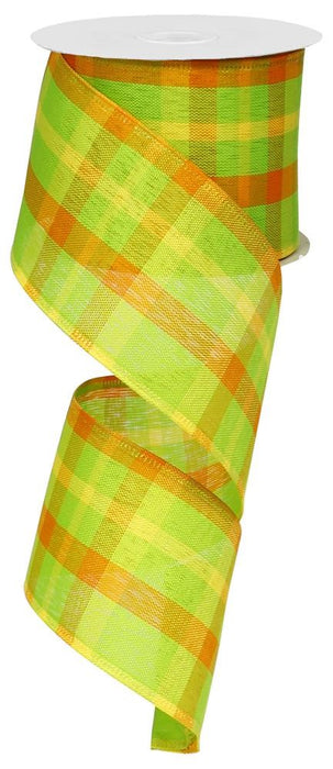 "Plaid Ribbon - Lime/Orange/Yellow - 2.5"" X 10YD"