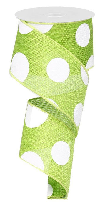 "Giant Multi Dot Ribbon - Lime Green/White - 2.5"" X 10YD-Mels Crafty Mojo LLC"
