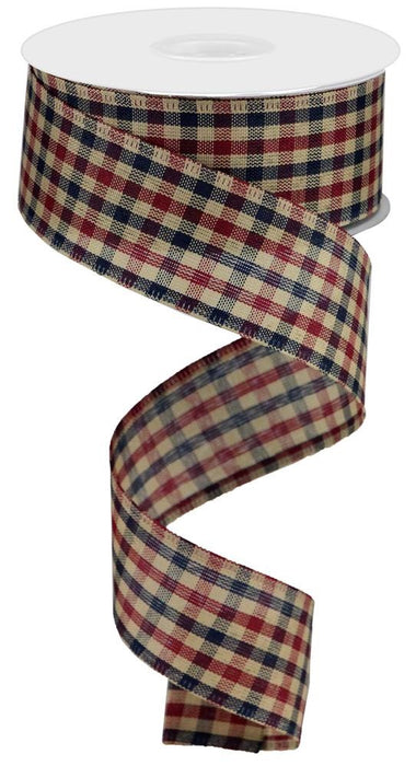 "Primitive Gingham Check Ribbon - Navy/Burgundy/Tan - 1.5"" X 10YD"
