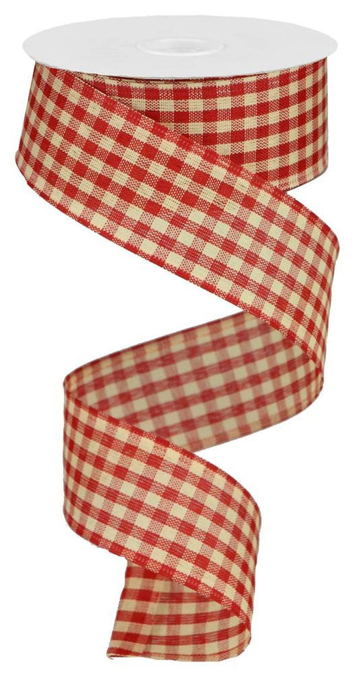 "Primitive Gingham Check Ribbon - Red/Beige - 1.5"" X 10YD-Mels Crafty Mojo LLC"