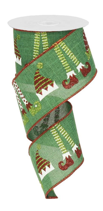 "Elf Hats & Legs on Royal Ribbon - Emerald/Red/White/Lime - 2.5"" X 10YD-Mels Crafty Mojo LLC"