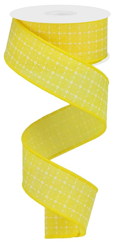 "Raised Stitch Squares Royal Ribbon - Yellow/White - 1.5"" X 10YD-Mels Crafty Mojo LLC"
