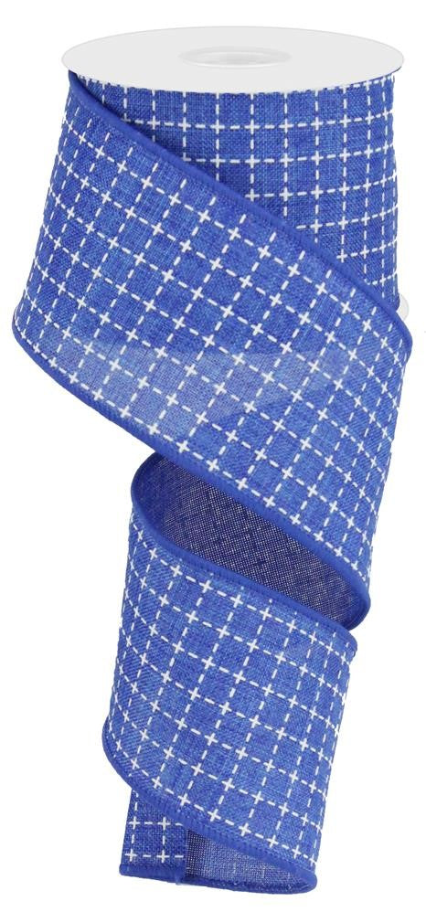 "Raised Stitch Squares Royal Ribbon - Royal Blue/White - 2.5"" X 10YD-Mels Crafty Mojo LLC"