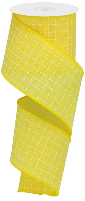 "Raised Stitch Squares Royal Ribbon - Yellow/White - 2.5"" X 10YD"