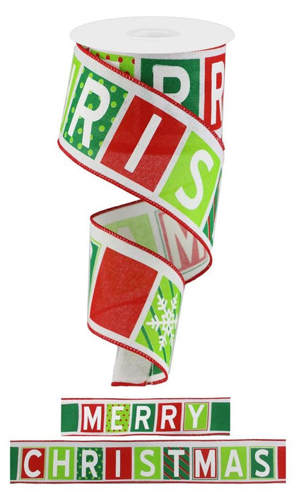 "Merry Christmas Multi Pattern Blocks Ribbon - Red/White/Lime/Emerald - 2.5"" X 10YD"