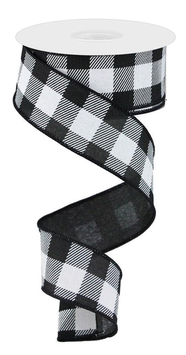"Stripe/Check Plaid on Royal Ribbon - White/Black - 1.5"" X 10YD"