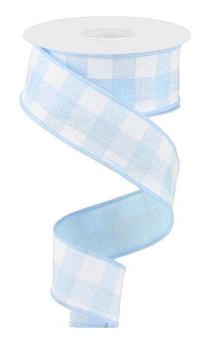 "Stripe/Check on Royal Ribbon - Pale Blue/White - 1.5"" X 10YD-Mels Crafty Mojo LLC"