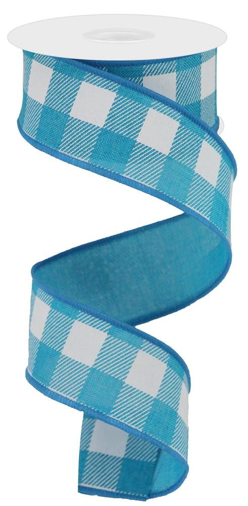 "Stripe/Check Plaid on Royal Ribbon - White/Turquoise - 1.5"" X 10YD-Mels Crafty Mojo LLC"