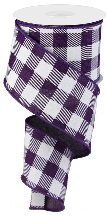 "Stripe/Check on Royal Ribbon - Purple/White - 2.5"" X 10YD-Mels Crafty Mojo LLC"