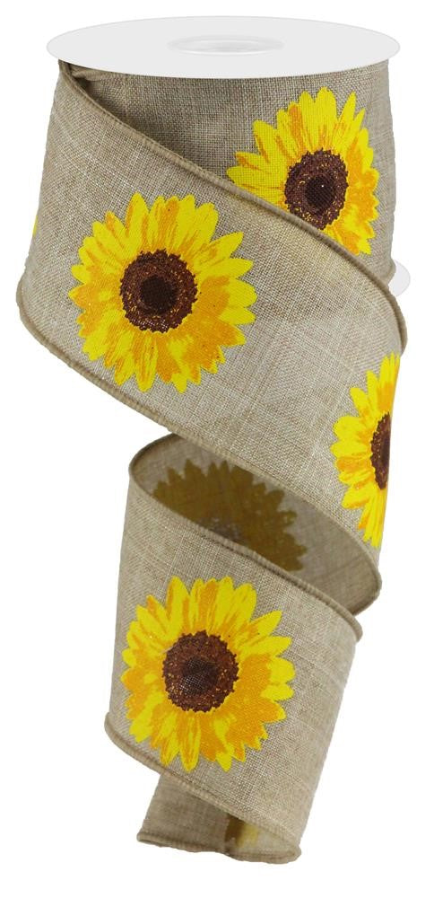 "Bold Sunflowers Royal Ribbon - Natural/Yellow/Orange - 2.5"" X 10YD-Mels Crafty Mojo LLC"