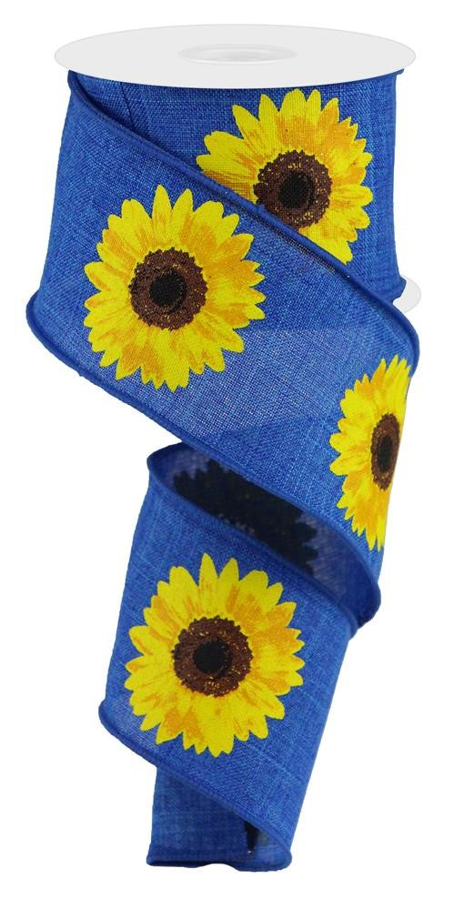 "Bold Sunflowers Royal Ribbon - Royal Blue/Brown/Yellow/Orange - 2.5"" X 10YD-Mels Crafty Mojo LLC"